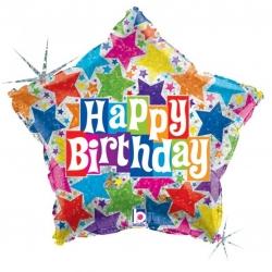 Ballons mylar Happy Birthday forme Etoile Ø 48 cm