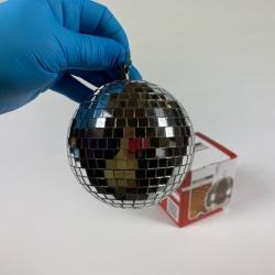 Boule àfacettes verre 10 cm argent