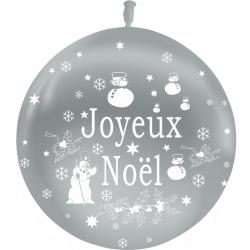 Ballons Joyeux Noel Argent Latex