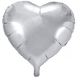 Ballons cœur Argent Mylar Ø 48 cm x l'unité