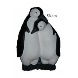 Couple lié de 2 bébés pingouins en résine